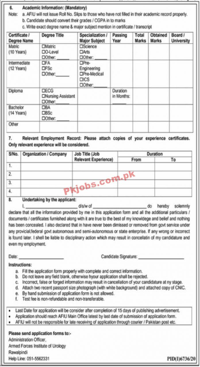 Jobs In Armed Forces Institute Of Urology Rawalpindi