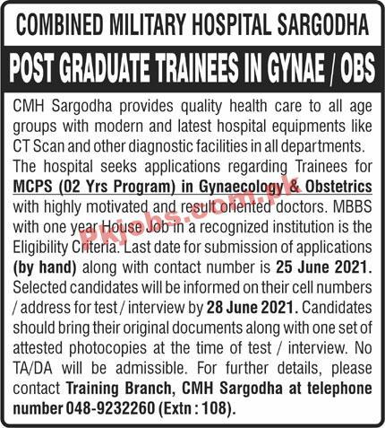 Jobs In Combined Military Hospital Sargodha
