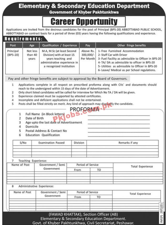 Jobs In Elementary & Secondary Education Department Government Of Khyber