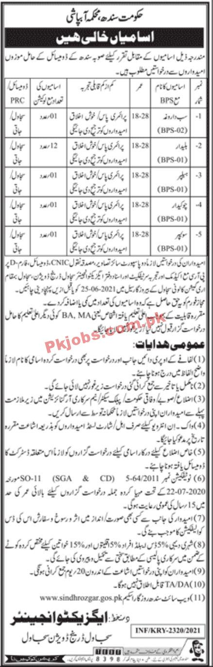 Jobs In Government Of Sindh Irrigation Department Jobs Sujawal