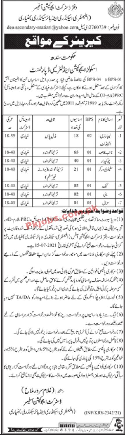 Jobs In Government Of Sindh Schools Education & Literacy Department