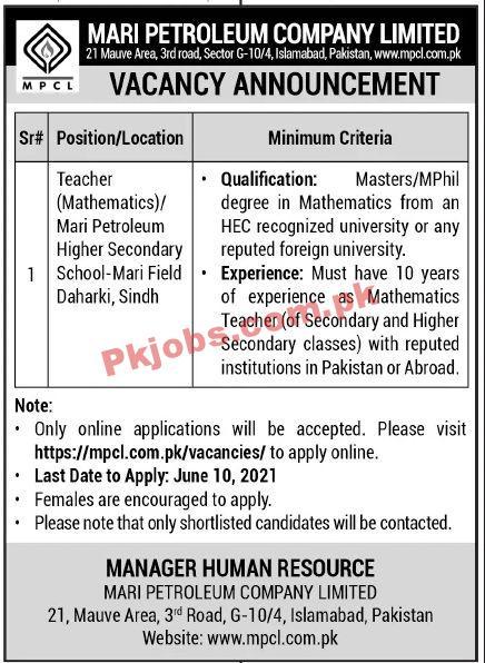 Jobs In Mari Petroleum Company Limited Mpcl