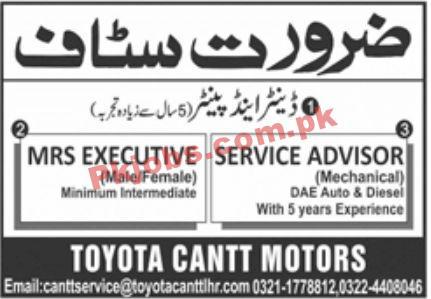 Jobs In Toyota Cantt Motors