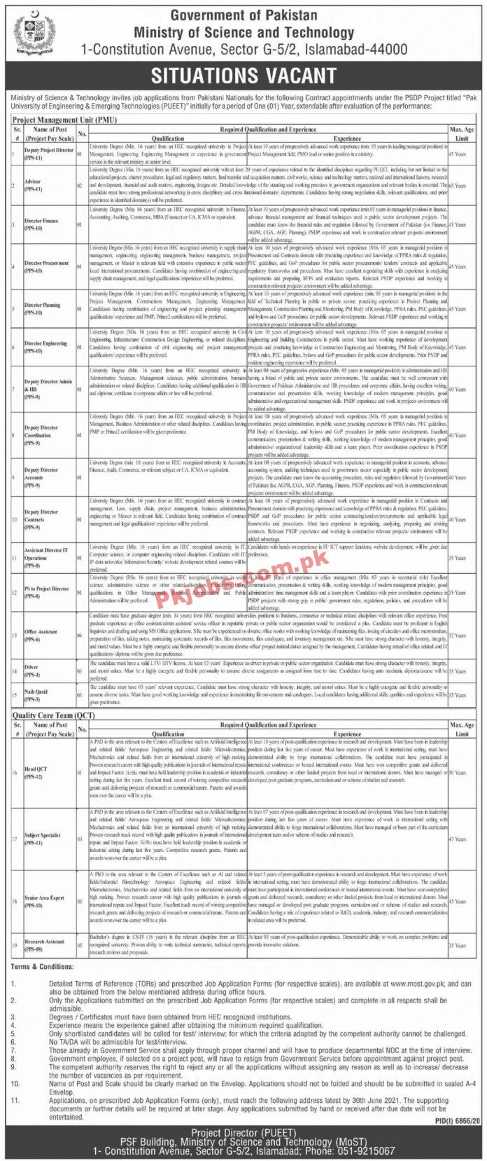 Ministry Of Science & Technology Management Pk Jobs 2021