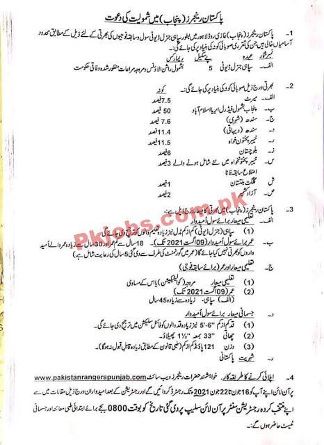 Pakistan Rangers Announced Latest Advertisement Pk Jobs 2021