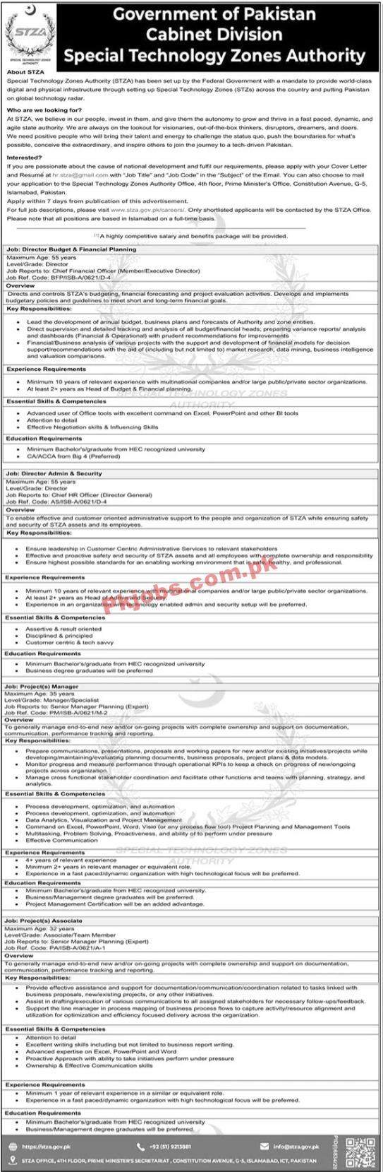 Special Technology Zones Authority Cabinet Division Pk Jobs 2021
