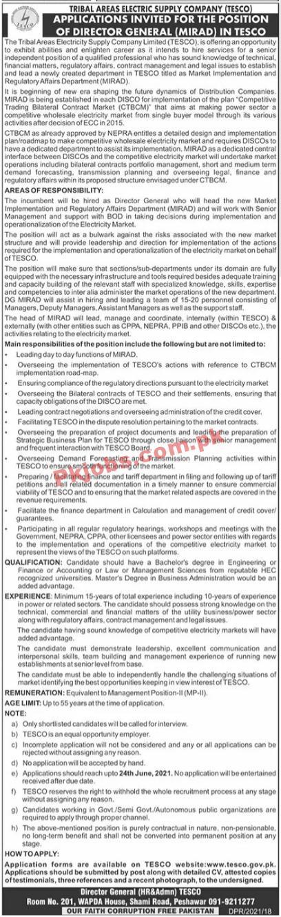 Tesco Electric Power Supply Company Management Pk Jobs 2021