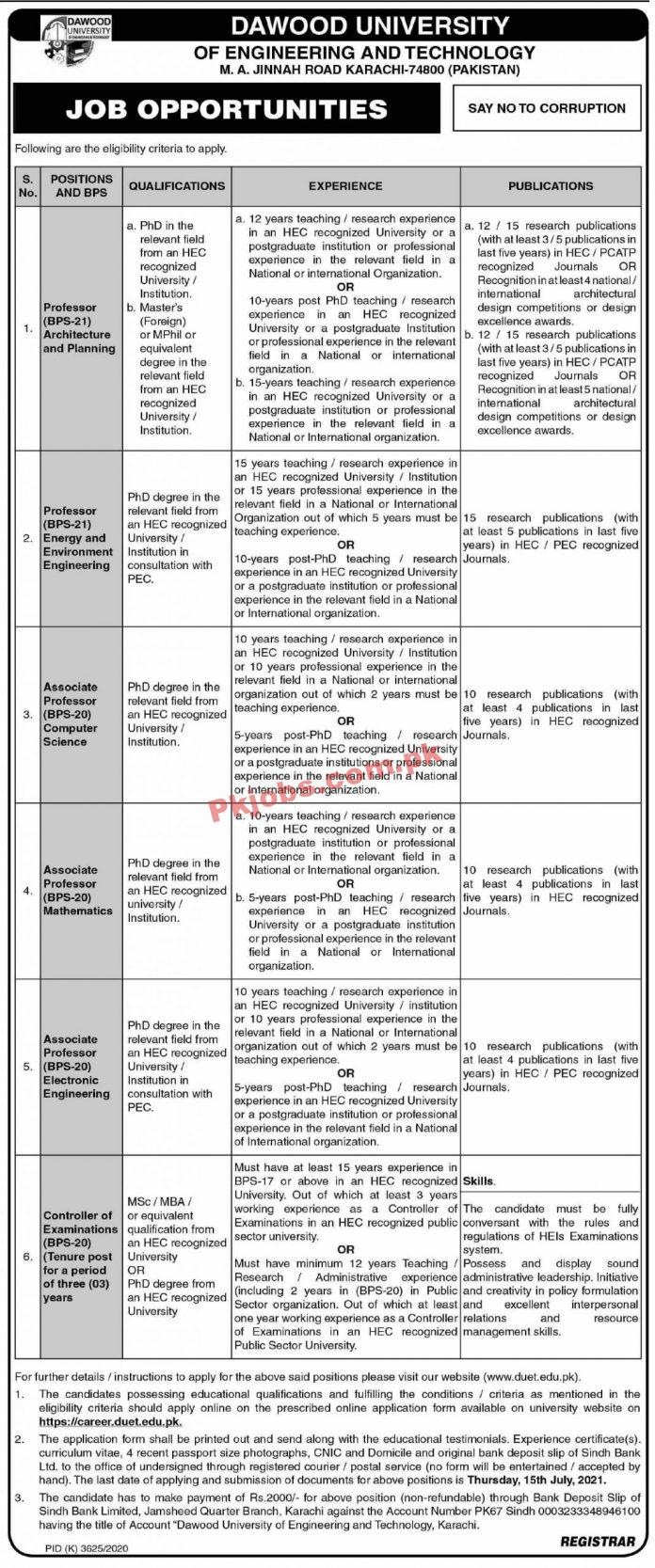 Jobs In Dawood University Of Engineering And Technology