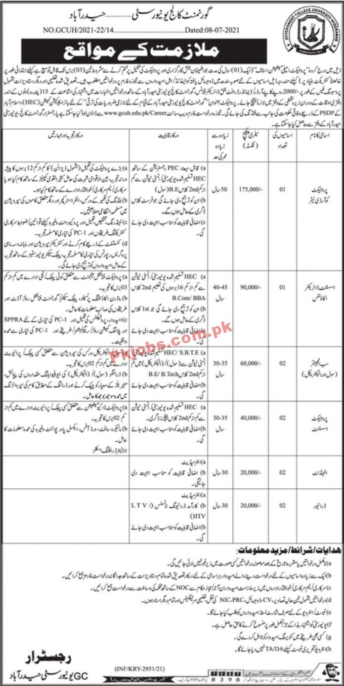 Jobs In Government College University Hyderabad