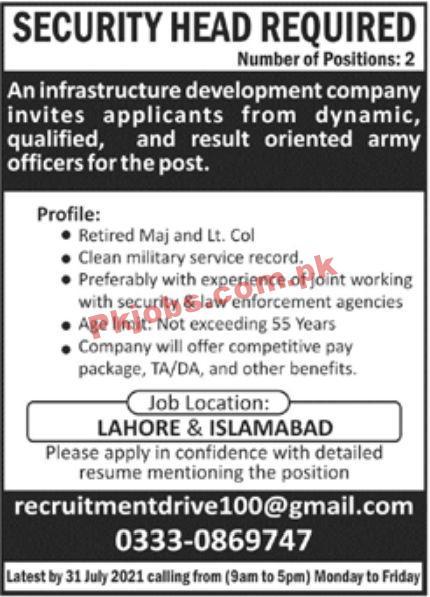 Jobs In Infrastructure Development Company
