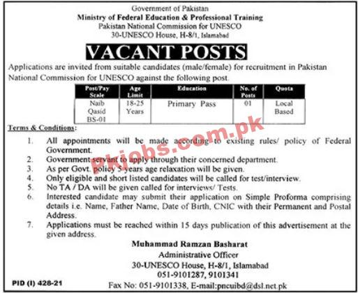 Ministry Of Federal Education Announced Management Pk Jobs 2021
