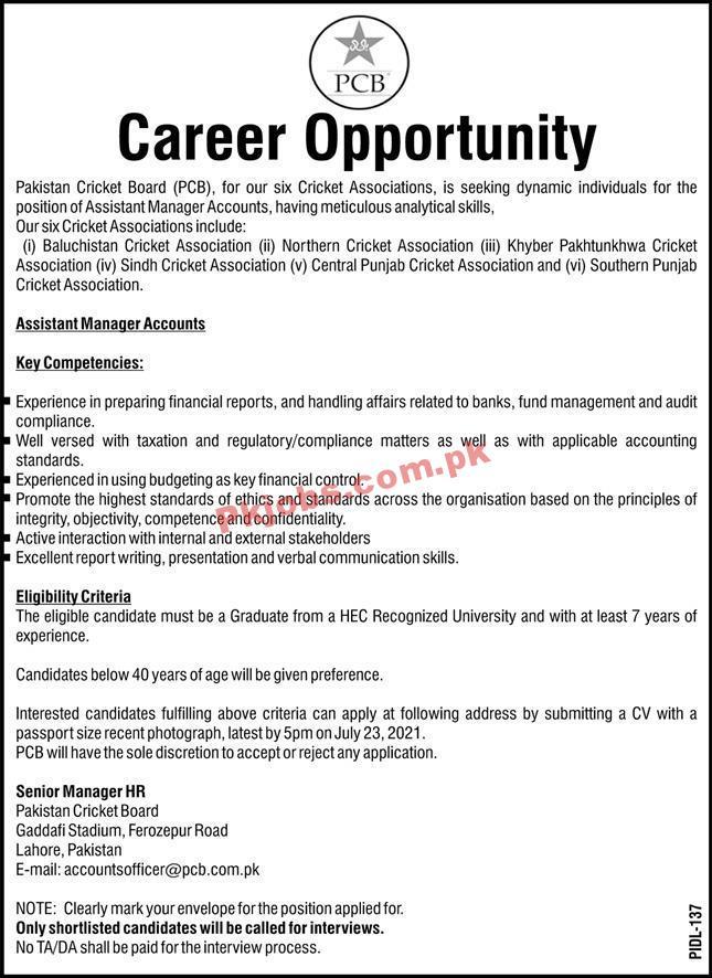 Pakistan Cricket Board (pcb) Announced Management Pk Jobs 2021