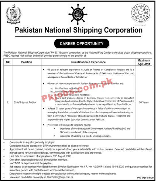 Pakistan National Shipping Corporation (pnsc) Management Pk Jobs 2021